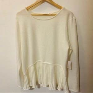Never worn LC cream ruffle sweater with tags